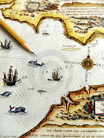 Free Antique Sea Navigation Map Royalty Free Stock Images - 6435159