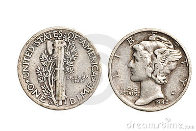 Antique silver dime isolated