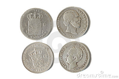 Antique silver dutch coins of 1847 and 1928