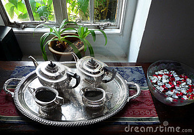 Antique Silver English tea service set