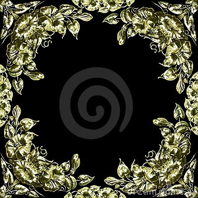 Free Antique Silver Floral Design As Border, Frame Royalty Free Stock Photography - 22790357