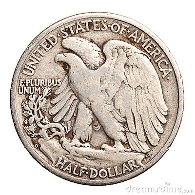 Antique silver half-dollar