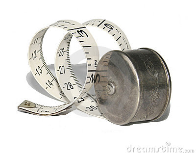 Antique silver holder with measuring tape
