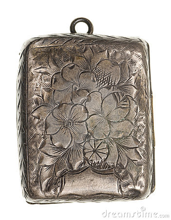 Antique silver locket isolated