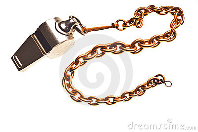 Antique silver whistle isolated