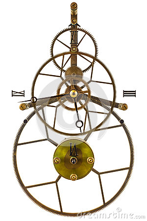 Antique skeleton clock with gear wheels isolated on a white background