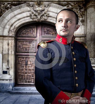 Antique soldier, man with military costume