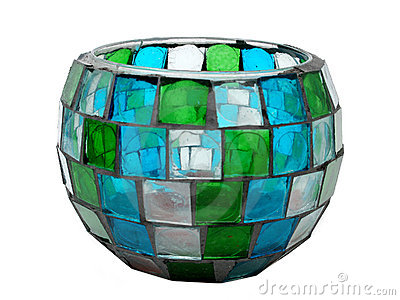 Antique Stained-Glass/Mosaic Candle Holder