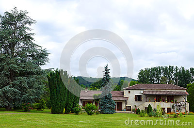 Style French Country House Grounds Photograph Showing Beautiful