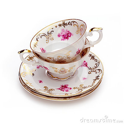 Free Antique Tea Cups Royalty Free Stock Photography - 21569367