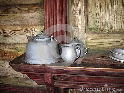 Antique teapots in an old house
