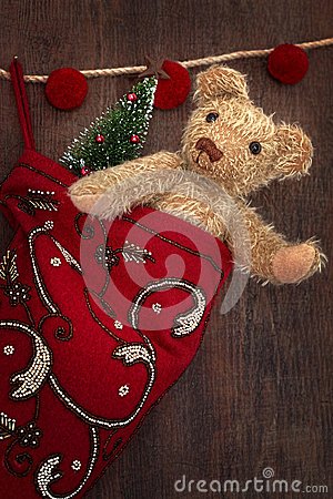 Free Antique Teddy Bear In Stocking Stock Photo - 28115770