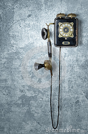 Free Antique Telephone On A  Blue Wall Royalty Free Stock Images - 29431899