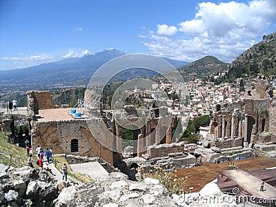 Antique theatre, taormina, etna,