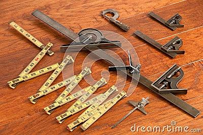Antique tool arrangement, measuring devices