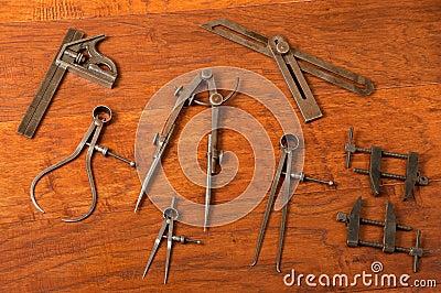 Antique Tool Arrangement Measuring Layout Devices Stock