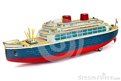 Antique toy cruise ship  on white