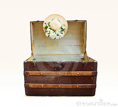 Travel Luggage Trunk on Antique Travel Trunk With Straw Hat  Click Image To Zoom