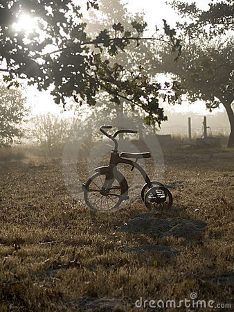 Antique tricycle in sunrise