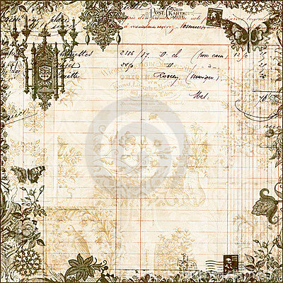 Antique Victorian Floral Scrapbook Background