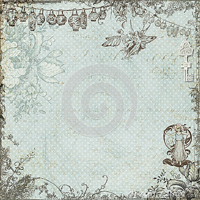 Antique vintage fairy and flowers background