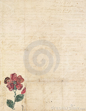 Antique vintage folded textured paper with flower