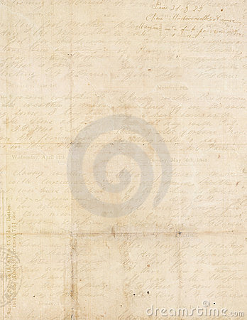 Antique vintage folded textured paper with script