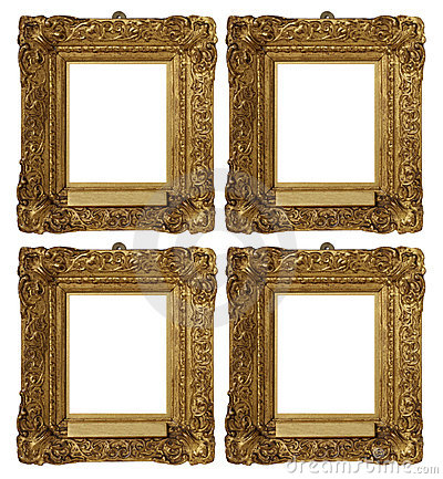 Antique Vintage Gold Frames Set