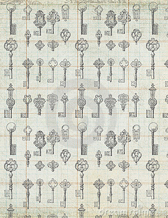 Free Antique Vintage Keys On Ledger Paper Background Stock Images - 21746854