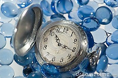 Antique watch under water
