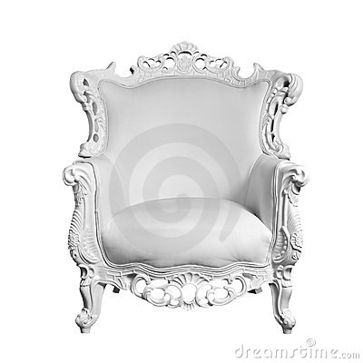Antique white leather chair