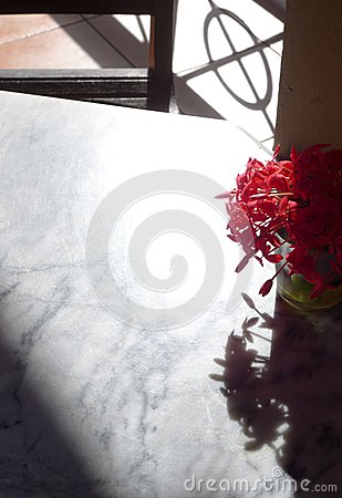 Antique white marble table top, vase of flowers