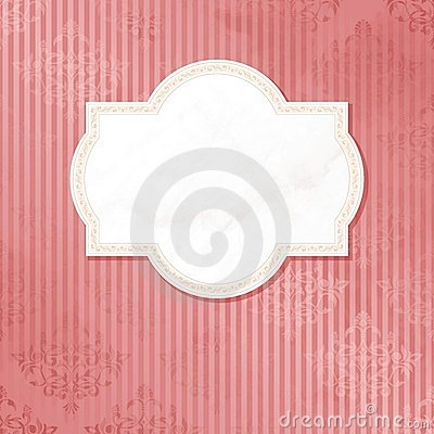 Antique white on pink wedding label