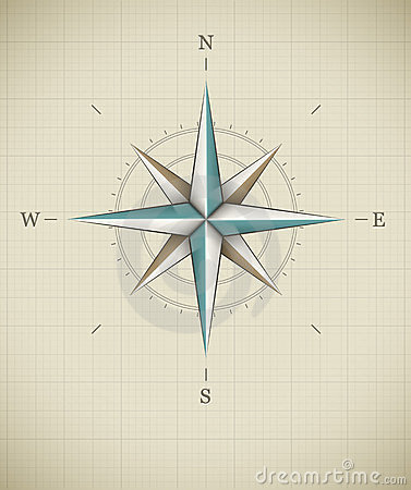 Antique wind rose symbol for navigation