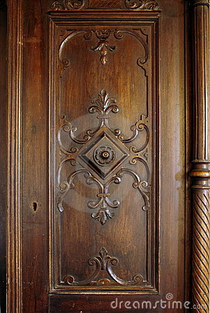 Antique wooden carved door