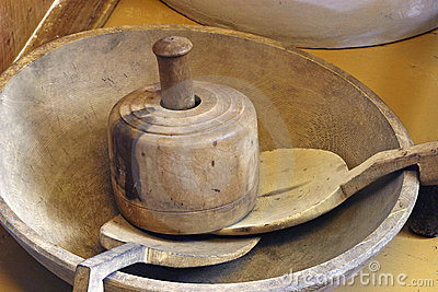 Antique Wooden Kitchen Items Stock Photo - Image: 13864300