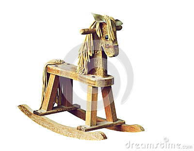 Antique wooden rocking horse.