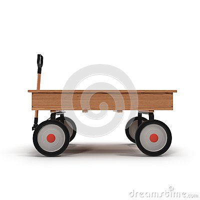 Free Antique Wooden Trolley Isolated On White Royalty Free Stock Image - 68895756