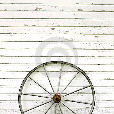Free Antique Wooden Wagon Wheel On Rustic White Background Stock Images - 42146584