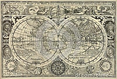 Antique world map Stock Photo