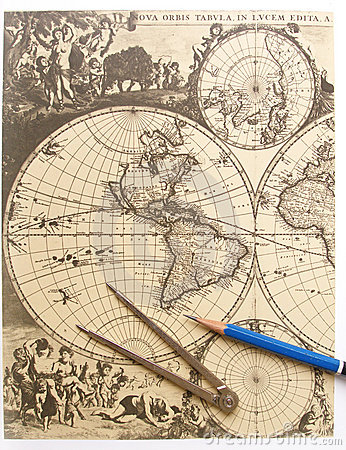 Free Antique World Map, Compass Stock Images - 5846654