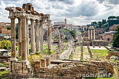 Antiquité romaine : Vue du forum romain