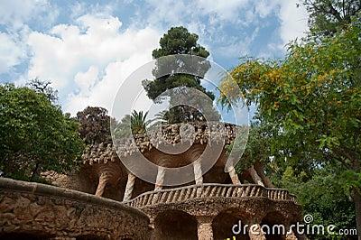 Antoni Gaudi in park Guell walk way