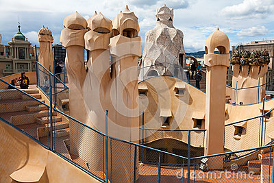 Antoni Gaudi s work at the roof of Casa Mila Editorial Stock Photo