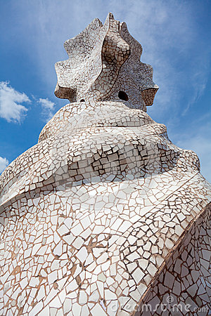 Antoni Gaudi s work at the roof of Casa Mila Editorial Image