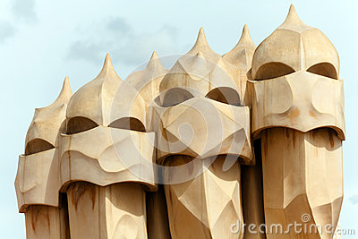Antoni Gaudi s work at the roof of Casa Mila Editorial Photo