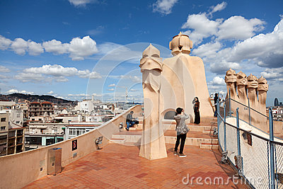 Antoni Gaudi s work at the roof of Casa Mila Editorial Stock Image