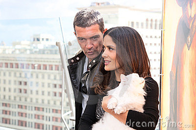 Antonio Banderas and Salma Hayek arriving at t Editorial Photography