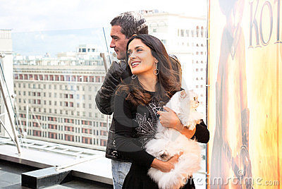 Antonio Banderas and Salma Hayek arriving at t Editorial Image