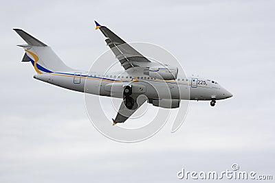 Antonov An-158 landing during 2011 Paris Air Show Editorial Image